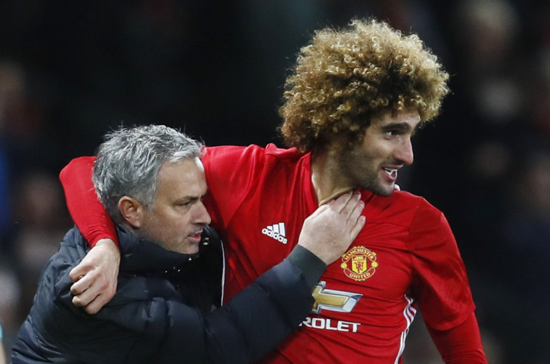 Marouane Fellaini and Jose Mourinho